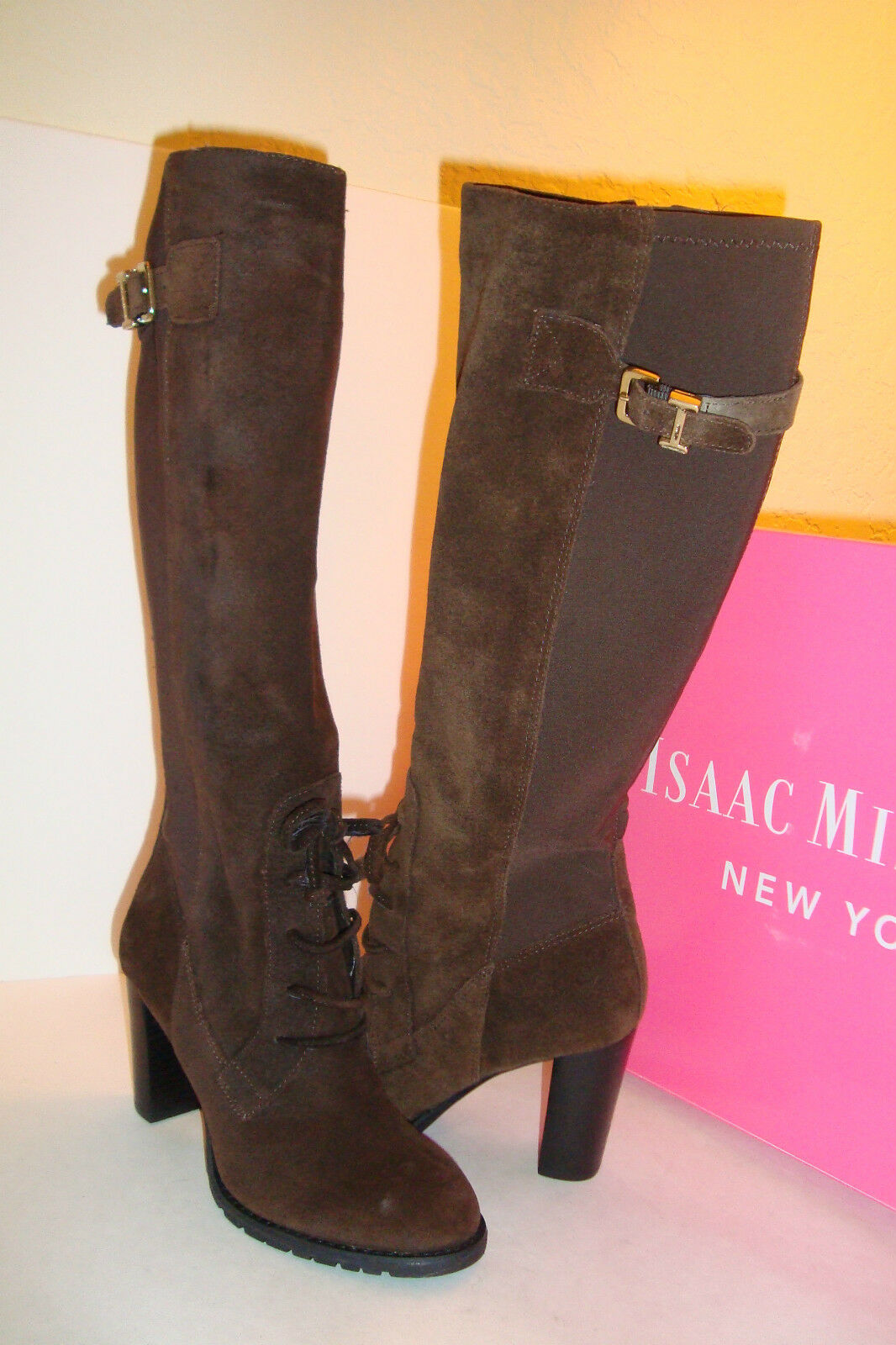 Issac Mizrahi New York Para Mujer Nuevo Nuevo Nuevo Con Caja Geogina DK Marrón Gamuza botas Zapatos 5.5 MED Nuevo  compras de moda online