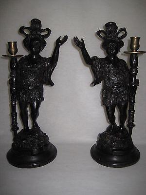 "Pair Of Blackamoor Detail Boy Statue Resin/Brass Candlestick Holders, 17"" Tall"