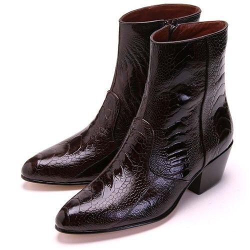 Los Altos Brown Genuine Ostrich Leg Ankle Boot Medium Round Toe Side Zipper EE