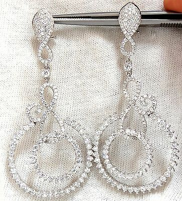 5.50ct NATURAL ROUND DIAMONDS SWIRL CIRCLE DANGLE EARRINGS 18KT +