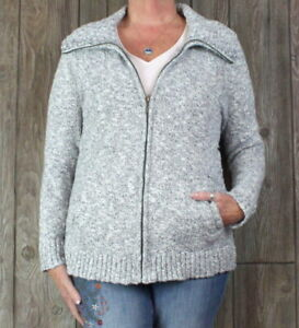 LL-Bean-Cardigan-Sweater-L-size-Gray-Full-Zip-Womens-Cotton-Pockets-Stretch-Top