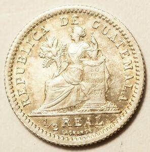 GUATEMALA-SUPERBE-1-2-REAL-ARGENT-1897