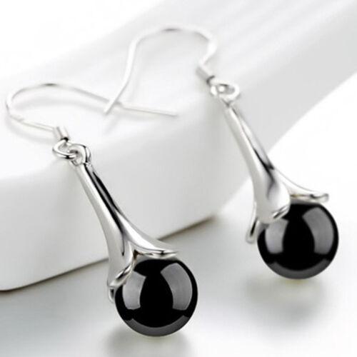 Women Vintage Style Agate Stone Tassel Drop Pendant Earrings Ear Gift LH