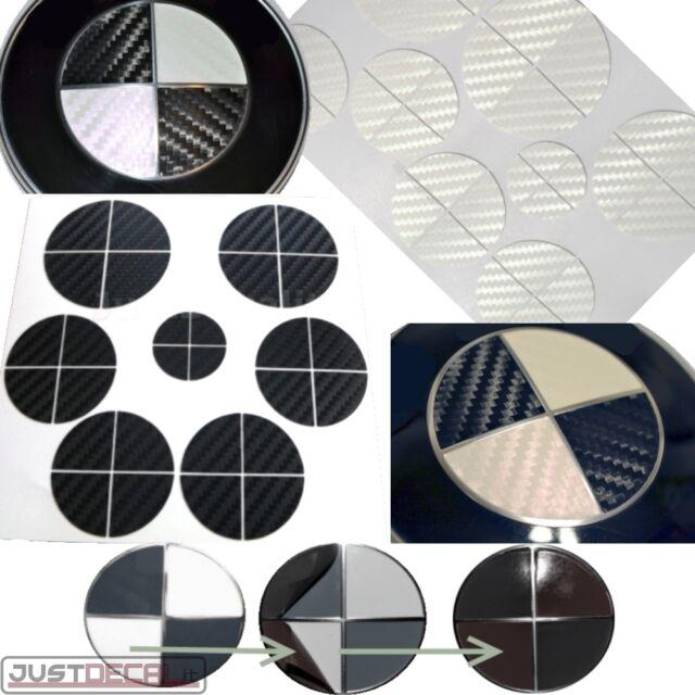 BLACK & WHITE CARBON FIBER Vinyl Sticker Overlay COMPLETE SET FITS BMW Emblems