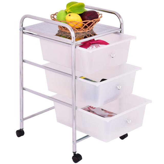 White 3 Drawers Metal Rolling Storage Cart Swivel Wheel Kitchen Home  Organizer