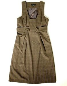 CUE Women's Size 8 Brown Sleeveless Knee Length Side Zip Pinafore Dress