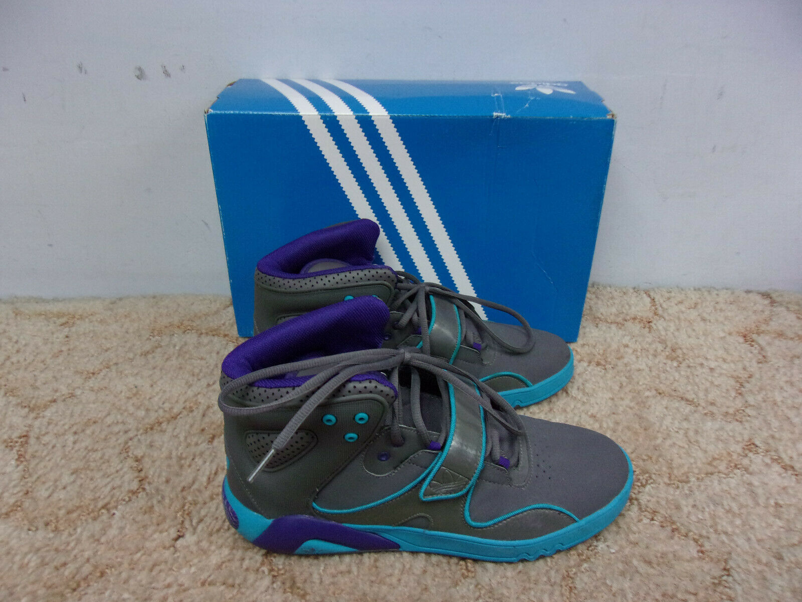 Adidas ROUNDHOUSE MID-PIPED Grey Turquiose shoes w Box Size 10 S42