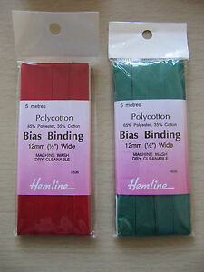 Hemline-Polycotton-Bias-Binding-12mm-1-2-inch-5m-pack-choice-Christmas-red-green