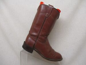 Acme-Brown-Leather-Roper-Western-Cowboy-Boots-Youth-Size-4-5-D-Style-3802-USA