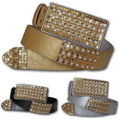 Donna Strass Cintura Pietre Grande Oro Fibbia Glamour Lusso Vintage Nuovo Eccellente (In) Qualità