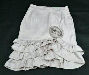 REVIEW-Womens-Bone-Beige-Flower-Rosette-Frilly-Edge-Pencil-Work-Skirt-Size-6