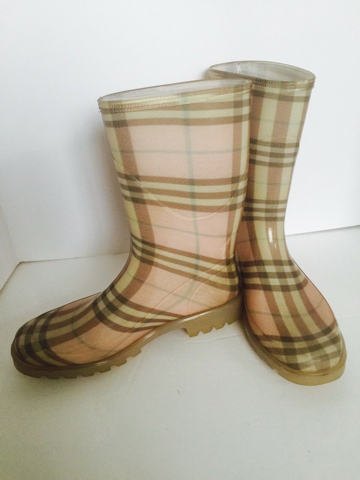 BURBERRY Pink Nova Check plaid  Rain boots / Wellies Sz 37 NICE!
