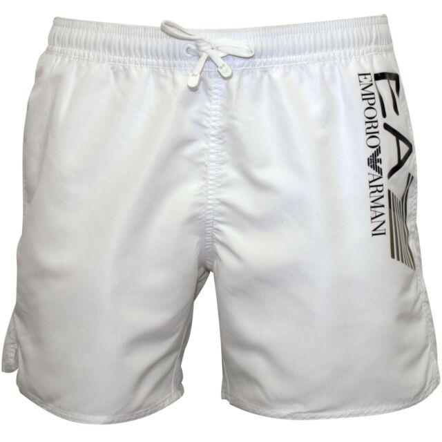 46e9c973c4877 Emporio Armani EA7 Athletic Trim Luxe Men's Swim Shorts, White with gold
