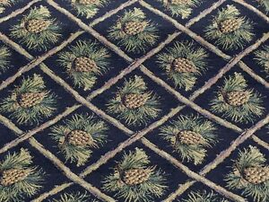 Image Is Loading Pinecone Upholstery Fabric Mountain Lodge Cabin Rustic Bears