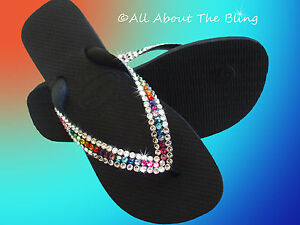 b74d671e3a91 Image is loading Havaianas-flip-flops-using-Swarovski-Crystals-My-Exclusive-