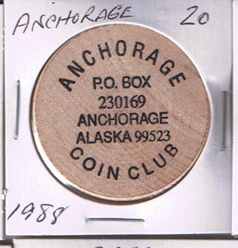 ANCHORAGE Anchorage Coin Club 1988 Alaska Wooden Nickel Token