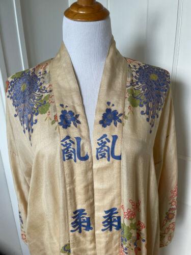 Antique Japanese tissue silk pongee robe, 1920's