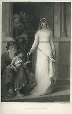 ANTIQUE BEAUTIFUL SPANISH WOMAN BLANCHE OF CASTILE QUEEN OF FRANCE CHARITY PRINT