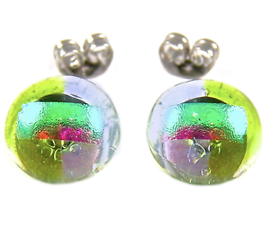 DICHROIC-Post-EARRINGS-1-4-034-10mm-Green-Lime-Purple-Clear-Tiny-Fused-GLASS-STUDS