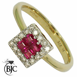 BJC-9ct-Yellow-gold-Ruby-amp-Diamond-cluster-size-N-engagement-dress-ring-R6