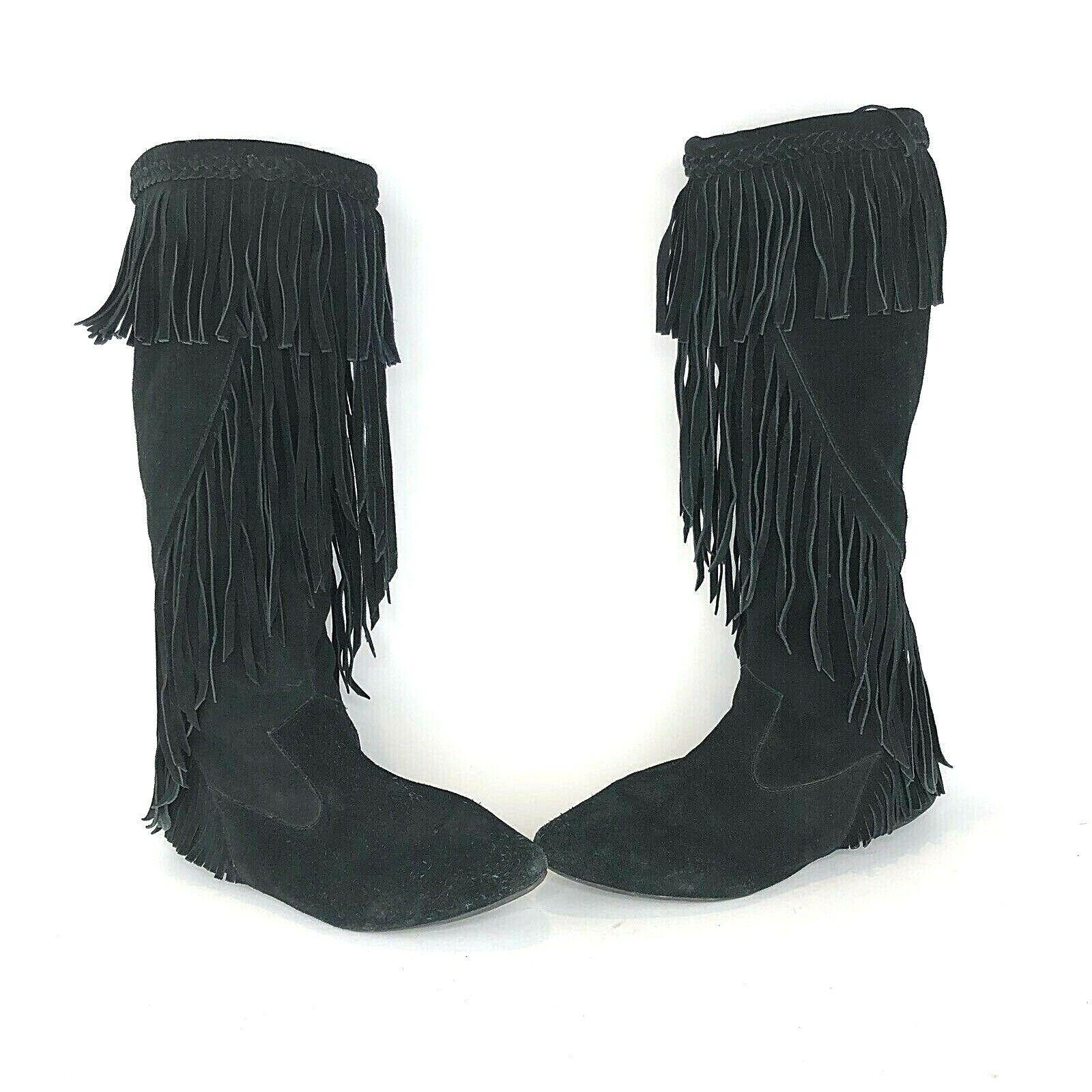 Sam Edelman Womens Size 9 M Utah Black Suede Fringe Flats Pull On Boots