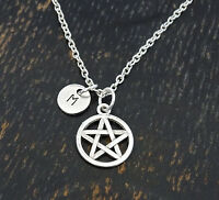 Personalized Pentagram Necklace - Choose An Initial, Gothic Necklace