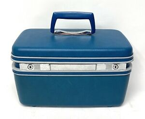Vintage Samsonite Royal Traveller Blue Train Case Suitcase Luggage w/ 1 KEY