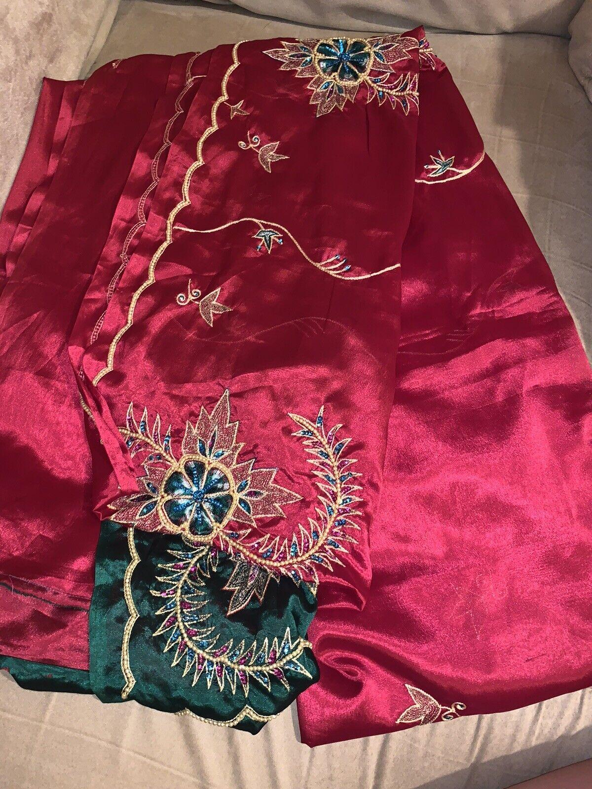RED GREEN EMBELLISHED SILKY INDIAN SARI SAREE DRESS