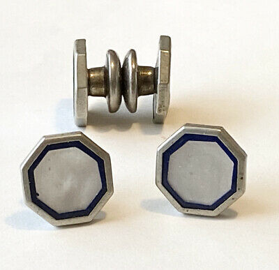 Art Deco Baer /& Wilde Silver Tone Kum-A-Part Mother of Pearl and Black Enamel Snap Cuff Links