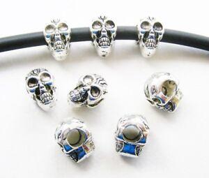 Metallperlen Spacer Totenkopf Schädel Skull für Bänder 4mm Großlochperlen