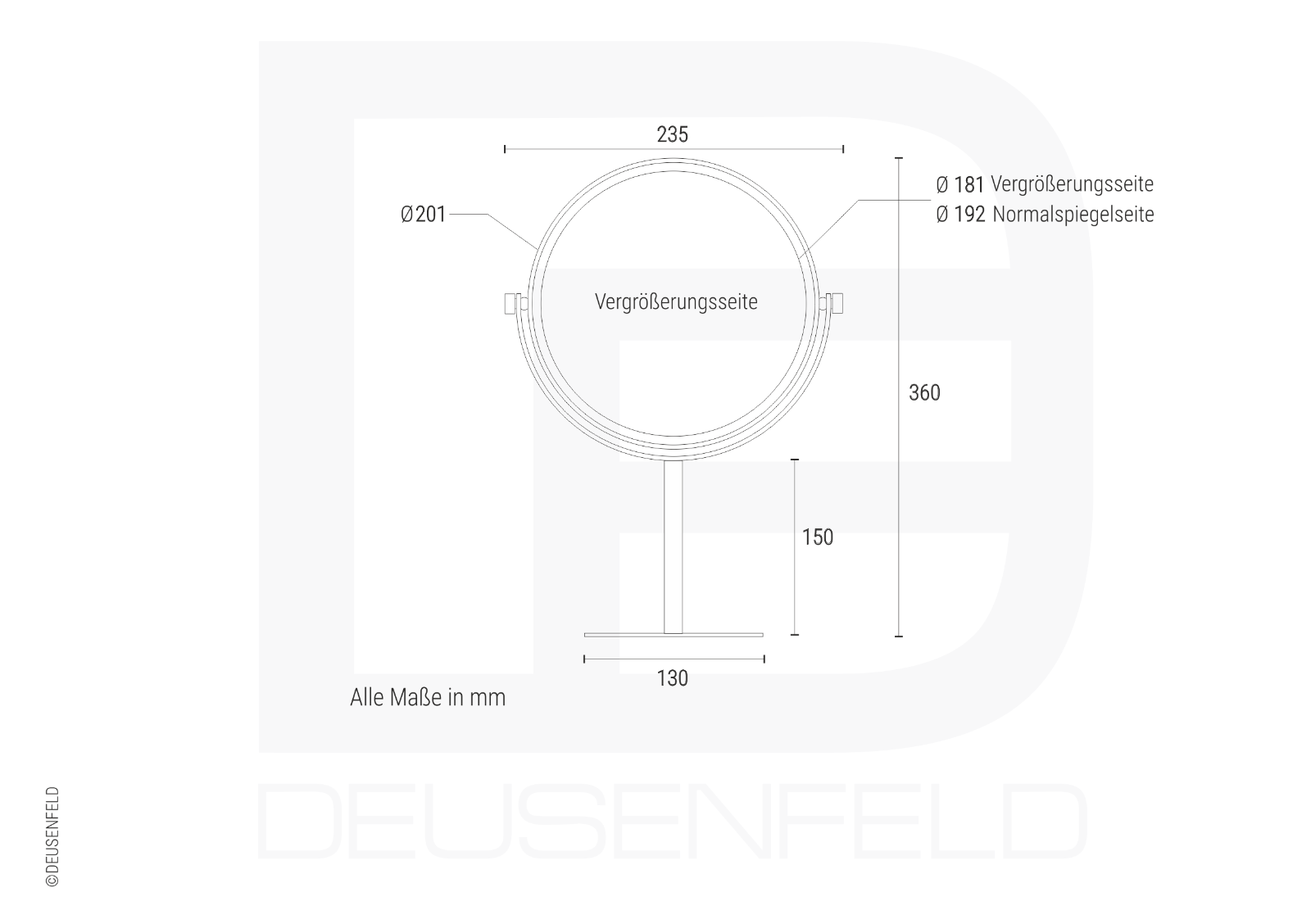 Deusenfeld sk520-doble stand cosméticos agrandamiento espejo, 5x agrandamiento cosméticos + normal, ø20cm c9dbfc