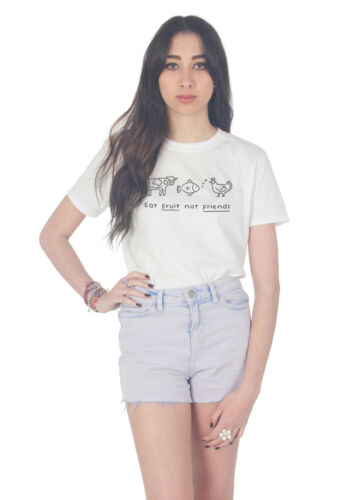 Eat Fruit Pas Amis Haut T-shirt Mode Blogger Slogan Cute Tumblr Vegan