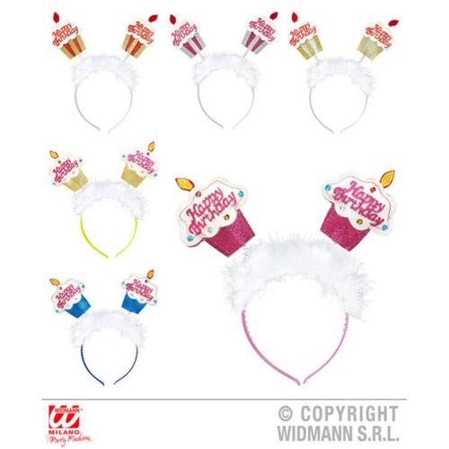 Glitter Happy Birthday Cake Head Bopper Marbou Feather Fancy Dress Accessory