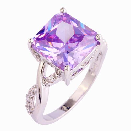 Chic Amethyst Gems Silver Jewelry Fashion Women Ring Size 6 7 8 9