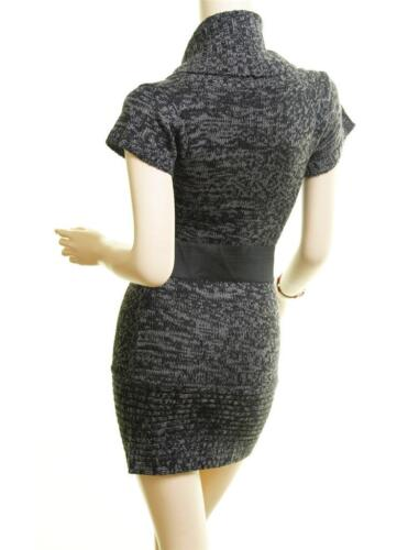 Belt Black Gy Tweed Cable Rib Hem Stretchy Knit Tunic Top Fitted Sweater Dress