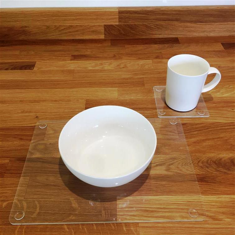 Rectangle en Forme Forme Forme de Clair Brillant Acrylique Sets de Table & Sous-verre - 11.5x8.5