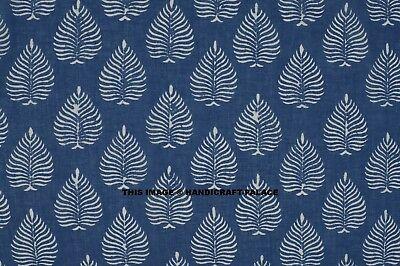 5 Yard Hand Block Blue Leaf Print Cotton Indian Natural Sanganeri Print Fabric