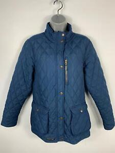 WOMENS-TRESPASS-BLUE-DIAMOND-QUILTED-PADDED-CASUAL-BUTTON-ZIP-JACKET-COAT-SIZE-M
