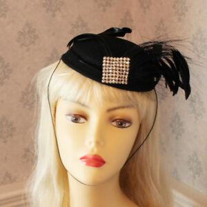 Vintage-1950s-Black-Wool-Rhinestone-amp-Feather-Sonnie-of-San-Francisco-Close-Hat