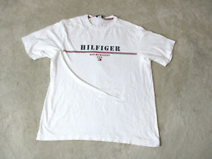 920833a34a36 VINTAGE Tommy Hilfiger Shirt Adult Medium White Red Spell Out Box ...