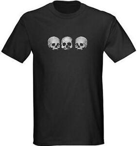 Pirate Goth Graphic Death Metal Punk Tee S-5XL Mens Three Skull Black T Shirt