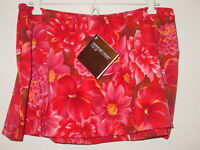 Newport News Red Floral Print Swimsuit Skirt Cover Up-14-nwt