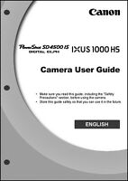 Canon Powershot Sd4500 Is Ixus 1000 Hs Digital Camera User Guide Manual