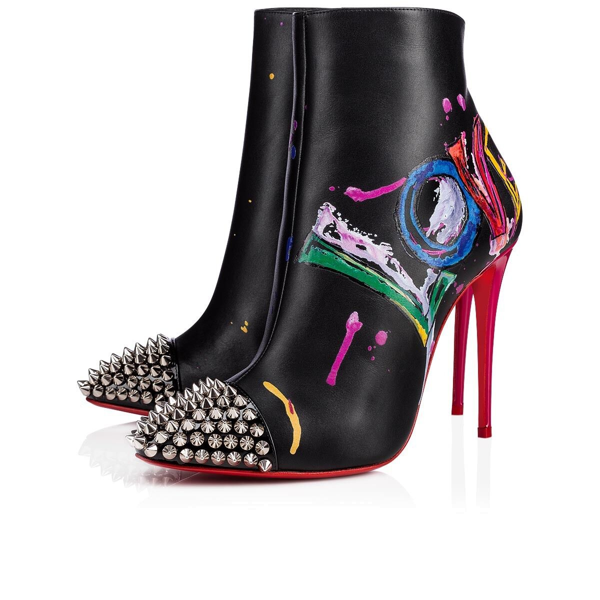 NIB Christian Louboutin Love Is A Boot 100 Black Spike Heel Ankle Bootie 35.5
