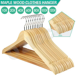 Wooden-Clothes-Hangers-Coat-Pant-Suit-Garments-Trouser-Rack-Wardrobe-Wood-Bulk