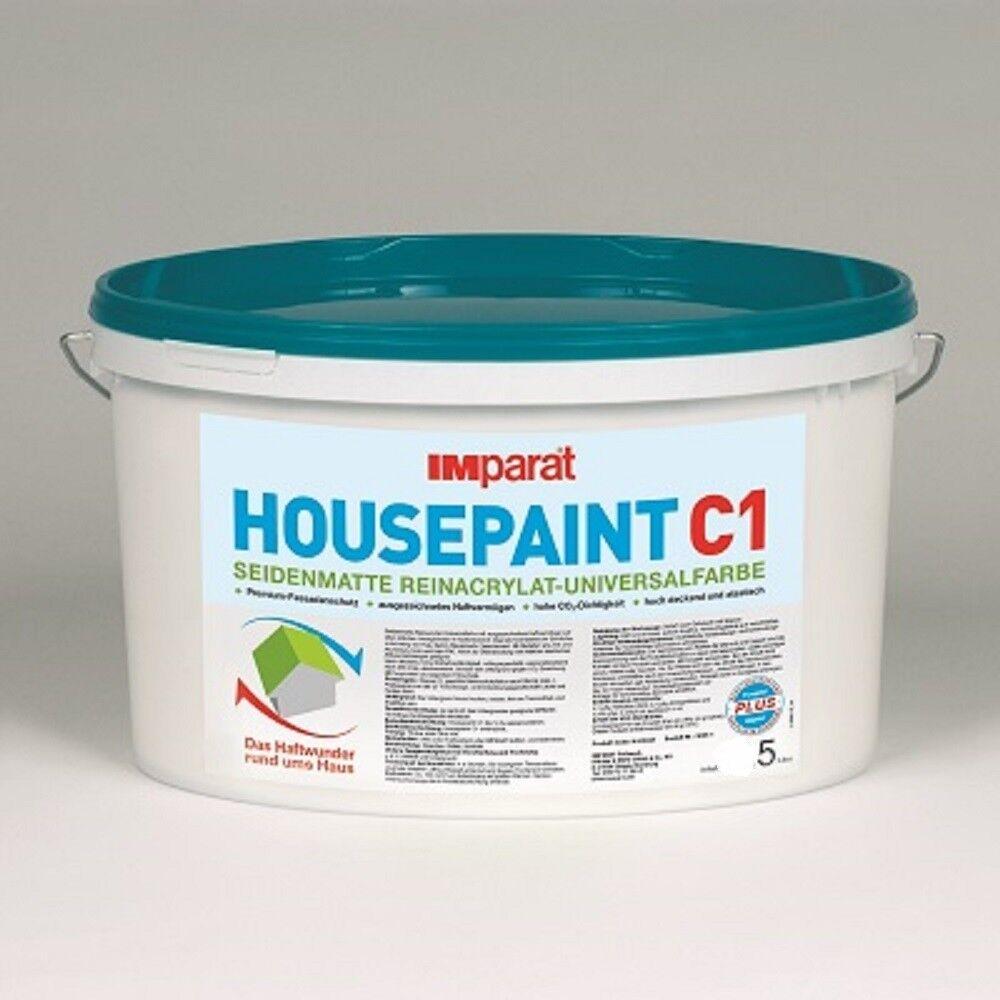 IMparat HOUSEPAINT C1 Profi Reinacrylat Universalfarbe Aussen weiß 5 L