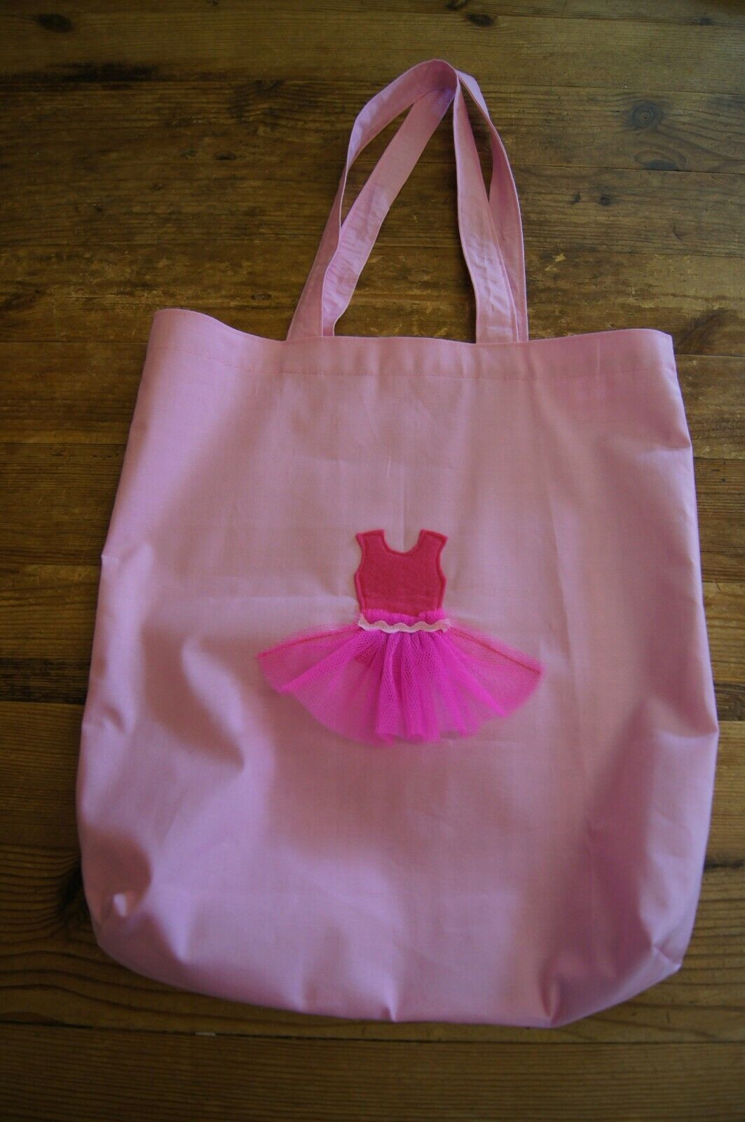 Handmade large lined dance tote bag pink with hot pink tutu gingham