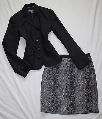 ANN TAYLOR Size 4 / 6 Women's Skirt Suit Gray & Black PERFECT!