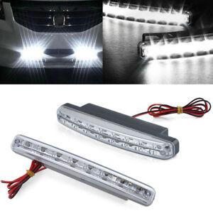 Car Light 8 LED DRL Fog Driving Daylight Daytime Running LED White Head Lamp
