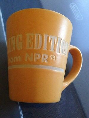 NPR National Public Radio Morning Edition Incised Coffee Mug Orange White Rare